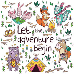 Let the adventure begin. Hand drawn camping illustration, cartoon style