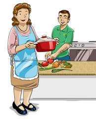 Pareja de adultos preparando comida saludable