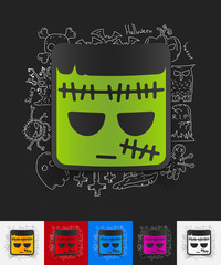 zombie paper sticker with hand drawn elements