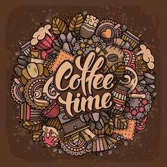 Coffee Round Design in Outline Hand Drawn Doodle Style with Objects on Coffee Theme. All elements are separated and editable. Calligraphic Lettering Coffee Time. Vector Illustration.
