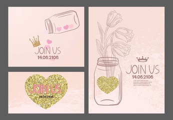 Invitation vintage cards with hand drawn design elements and textured gold hearts