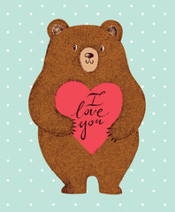 Vector colored illustration with adorable cute bear