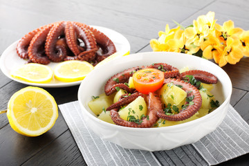 Octopus salad with boiled potatoes
