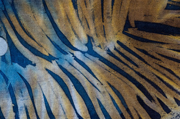 Feather, hot batik, background texture, handmade on silk, abstract surrealism art