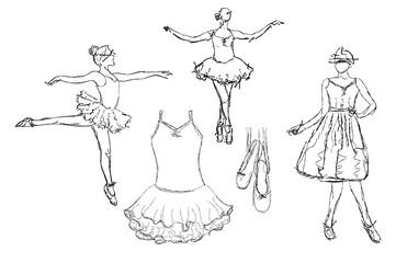 Hand drawn Ballerina dance in tutu.