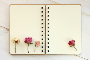 Open empty copy book with dried roses. Blank creamy pages.