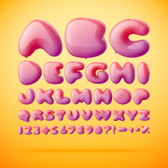 Vector font made from balloons. Alphabet