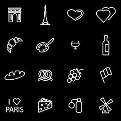 Vector line paris icon set. Paris Icon Object, Paris Icon Picture, Paris Icon Image - stock vector