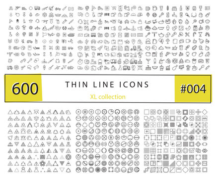 600 Vector thin line icons set for infographics, mobile UX/UI ki