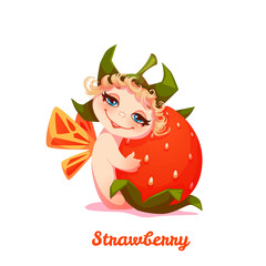 Sweet fairy with red strawberry. Vector illustration. Flat style.