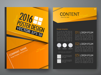 Vector magazine,modern flyers brochure,cove,annual report,design templates,layout with orange abstract polygons background in a4 size,To adapt for business poster,information,presentation,illustration