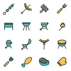 Trendy flat line icon pack for designers and developers. Vector line barbecue icon set, barbecue icon object, barbecue icon picture, barbecue image - stock vector