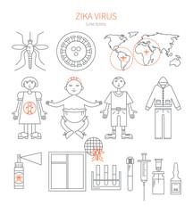 Set linear icons Zika virus