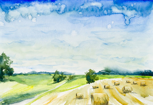 Landscape. The field with haystacks. Watercolor hand drawing illustration.
