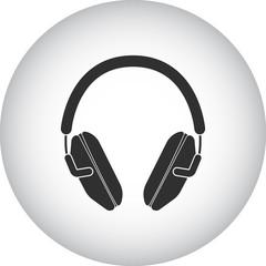 Dj headphones simple icon on round background