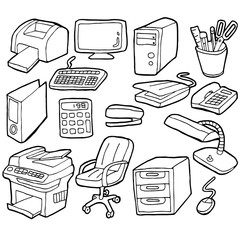 vector set of office accessories