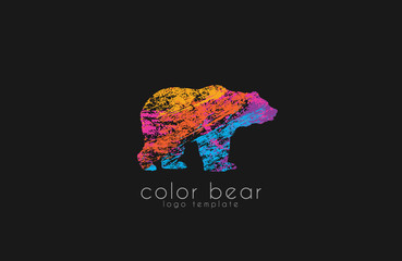 Bear logo. Creative animal logo. Colorful logo design.