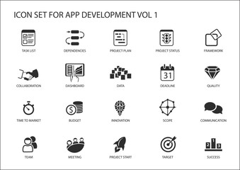 Vector icon set for app / application development. Reusable icons and symbols like task list, dependency, project plan, communication