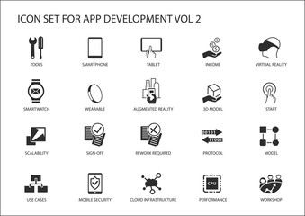 Vector icon set for app / application development. Reusable icons and symbols like, tools, mobile devices, meeting, scalability