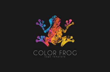 Frog logo. Color frog logo. Creative logo design. Animal logo.