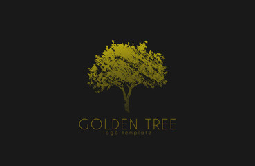 Tree logo. Golden tree. Nature logo design. Beautiful logo. Creative logo