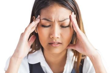 Nervous businesswoman holding her head