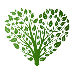 vector heart shape tree on white background