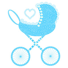 Baby carriage with curling figured flowers, blue colors. Vector children blue pram