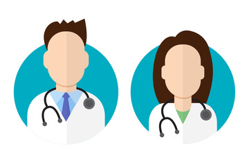 Doctor icon flat style male and female