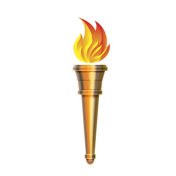 Torch icon - Vector Hot flame, power flaming,