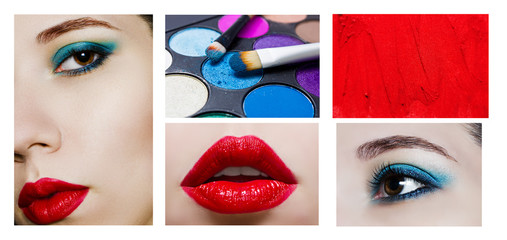 Collage with makeup products and close up portrait of beauty mod
