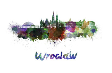 Wall Mural - Wroclaw skyline in watercolor