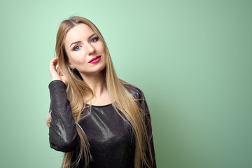 Fashion model with bright makeup. Portrait of young fashion woma