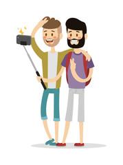 Selfie friends mans gays couple vector illustration.
