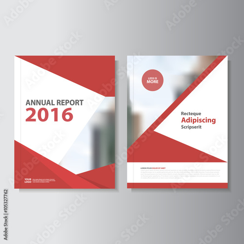 Red Vector Annual Report Leaflet Brochure Flyer Template Design