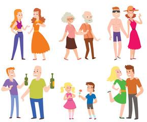 People couples, men, women, old men, boys, love set of characters flat vector illustration.