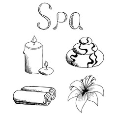 Spa set stone candle towel lily graphic art black white illustration vector