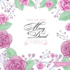 Watercolor Roses Wedding Invitation Template. Save The Date vector illustration with pink ribbon