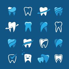 Teeth icon set on blue background