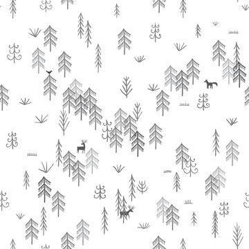 Vector seamless pattern with wild forest life with wolf hunting