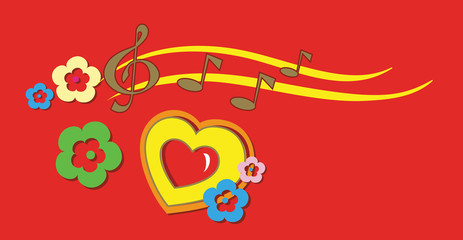 Abstract Cartoon Background with Music Notes.