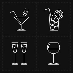four modern flat bar icons