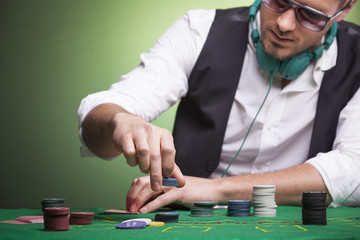 Player at the poker table