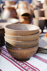 Pottery, traditional handmade souvenirs on the table. Crafts Fai