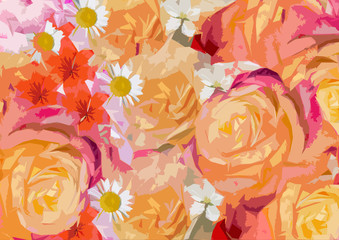 The background of warm yellow and orange colours of flowers
