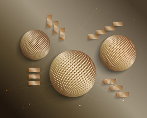 3D tech composition Halftone Effect. Golden balls and stylized staircase. Vector abstract background with geometric shapes wireframe.