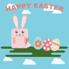 Happy Easter Greeting Card. Easter Bunny and Easter Eggs on Green Meadow and Sky with Clouds. Digital background vector illustration.