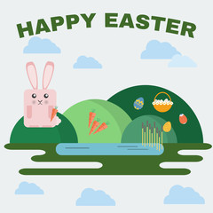 Happy Easter Greeting Card. Easter Bunny, Easter Basket with Flowers and Eggs. Landscape, Green Hills and Lake with Reeds. Digital background vector illustration.