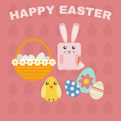 Happy Easter Greeting Card. Easter Bunny, Easter Chicken and Easter Basket with Daisies and Eggs. Easter Eggs Texture Red Backdrop. Digital background vector illustration.