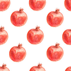 Watercolor seamless pattern with pomegranates. Hand drawn tropical design. Vector summer fruit illustration.